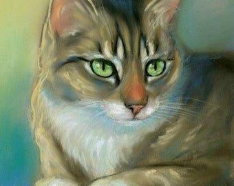 Brown Tabby Cat Original Pastel Painting