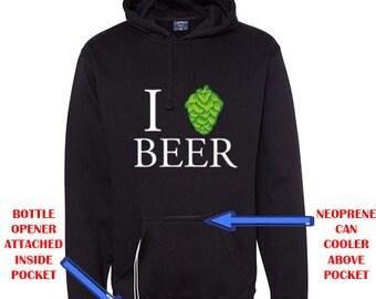 Ultimate Beer Drinker Hoodie - Hooded Sweatshirt w/Beer Pocket and Beverage Holder - Craft Beer Brewer Drinker Gift Idea Tailgate lQzRQZb