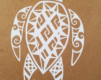 Sea turtle vinyl car decal Filipino tribal tattoo ocean sealife
