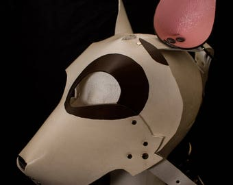 Bull Terrier puppy dog mask hood open mouth leather maske cosplay petplay puppy play