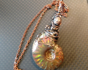 Ammolite fossil stone pendant wire wrapped in copper wire
