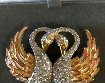 Nolan Miller Glamour Collection Swans Brooch