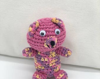 Small Crochet Teddy Bear, Amigurumi Bear, Pink Teddy bear Plush Toy, Crocheted Bear, 100% Cotton Yarn