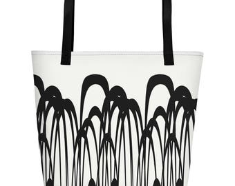 Canvas tote bag, Funky Beach Bag, Printed Shopping bag, Black and white design, Inside pocket, 16 x 20,
