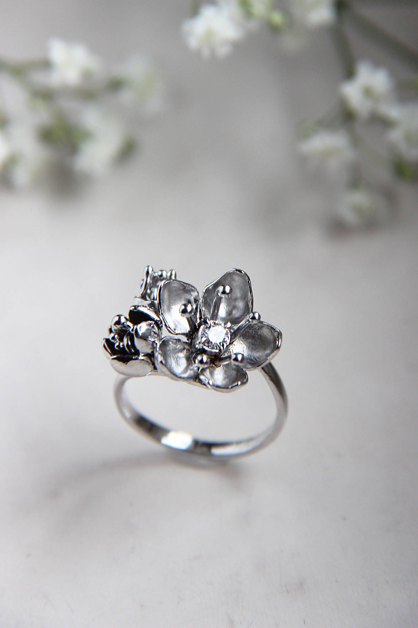 Cherry blossom ring, unique diamond ring, white gold ring ...