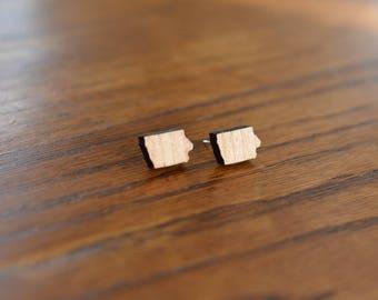 Wooden Iowa Stud Earrings