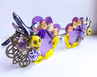 Skull & Pearl Sunglasses - Purple Floral Sunglasses - Purple Round Sunglasses - Floral Rhinestone Sunglasses - Round Yellow Eyewear