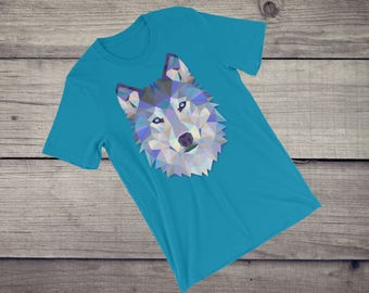 Polygonal wolf triangular triangle animal art print T-Shirt geometric Short-Sleeve Unisex T-Shirt tshirt tee
