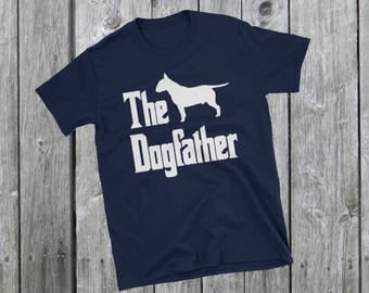 The Dogfather t-shirt, Bull Terrier silhouette, funny dog gift, The Godfather parody, dog lover shirt, dog gift, Short-Sleeve Unisex T-Shirt