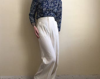 "Vintage white / oatmeal / wide leg / high waisted / trousers / pants / 25"""
