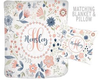 Floral Monogram Blanket, Pillow Set, Valentine Gift for Girl, Gift for Friend, Gift for Teen, Baby Girl Shower Gift, Gift for Sister