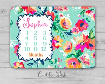 Baby Girl Milestone Blanket, Watercolor Floral Newborn Photography Backdrop, Month Growth Chart Quilt, Flower Personalized Baby Shower