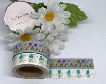 "Simply Gilded Washi, Tulips and Pineapples, Limited samples, 24"" samples"