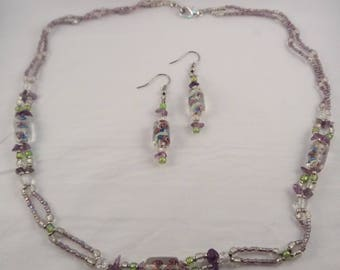 Purple and Green Glass Beaded Necklace Set, Necklace and Earring Set, Gifts for her, Gifts for girls, Gifts