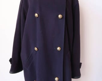 Navy Coat Size Large L, JAEGER Double Breasted, Wool Cashmere Blend,  Vintage Gold Tone Buttons Lined