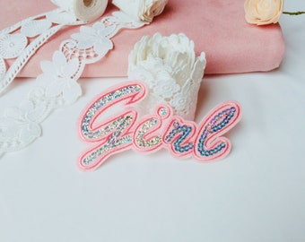 pink girl patch/sequin patch/iron on patch/diy/applique/lovely/word