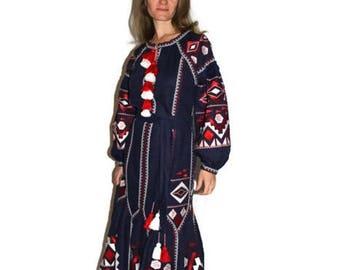 Long embroidered Dress Boho Ukrainian Embroidery Vyshyvanka Dresses Ukraine Clothing Vishivanka Abaya Dubai Custom Bohemian dresses