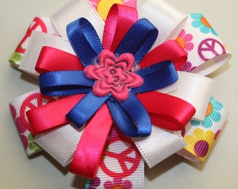 Handmade Stacked Hair Bow, infant toddler girls hair bow