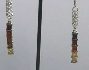 Cherry, Cognac and Lemon Amber squares with Full Persian Chainmaille Sterling Silver Earrings