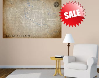EUGENE Oregon Map Art Eugene OR Vintage City Map Large Size Graphic High Detailed Street Map Yellow Cream Map Large Wall Canvas West Coast