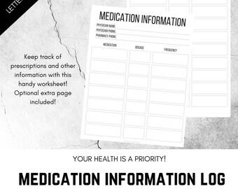 Medication Tracker, Prescription Tracker, Printable Medicine Tracker, Medication information, prescription medication, doctor visit, health