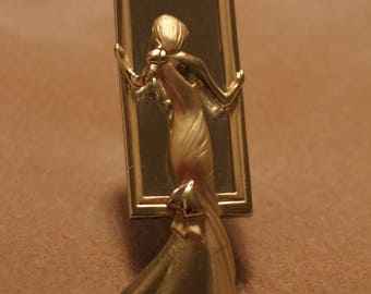 AJC Lady in the Mirror Gold Tone Brooch