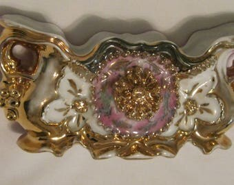 Pretty Vintage Porcelain Pink Footed Planter with Floral and Gilt Trim