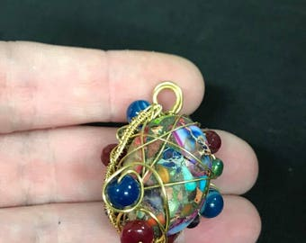 MultiColored bead wire wrapped pendant