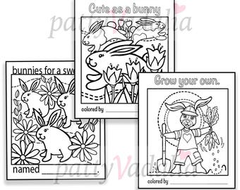 Bunny. Set of 3. Coloring. Coloring Page. Coloring Pages for Kids and Adults. Kids Coloring Pages. Printables. Instant Download.