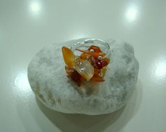 Silver plated ring with Carnelian