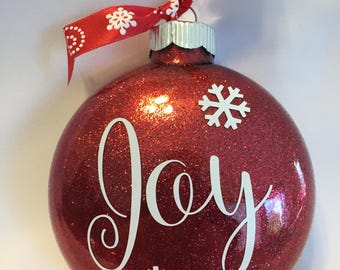 "Red Glitter ""Joy"" Christmas Ornament"