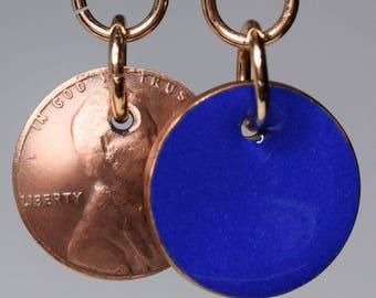 Enameled Penny Earrings-Blue