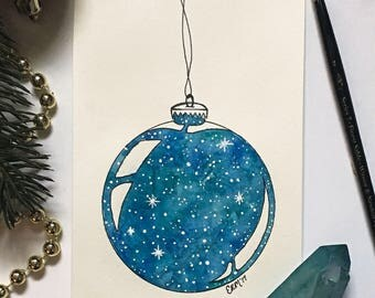 Blue, Galaxy, Nebula, Star, Holiday, Christmas Ornament Painting