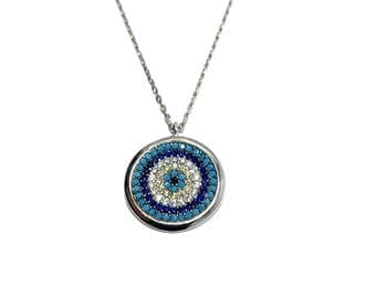 Silver Turquoise Multi Stone Evil Eye Necklace