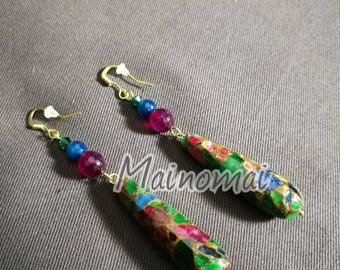 Long earrings brass, with blue agate, fuchsia, green Swarovski and drop mix stones