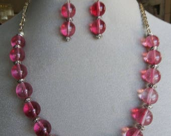 Women's Jewelry - Pink Necklace & Earring Set