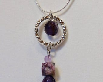 Necklace Amethyst, Lilac Amethyst, Charoite