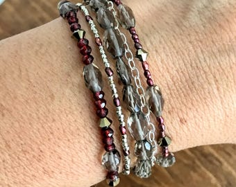 Multi Strand Beaded Bracelet, Labradorite and Garnet Bracelet, 5 Strand Gemstone Bracelet, Silver Bracelet, Mothers Day Gift For Her