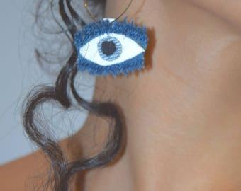 Denim Earrings : Eye Hoops