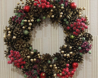 Christmas wreath Gold Wine