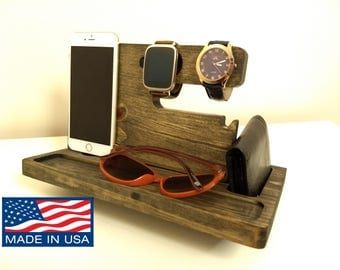 Wooden Docking Station, Unique holiday gift, Christmas, New Year, Birthday, Gift for Men, Anniversary Gift, Fathers Day Gift, Valentinas Day