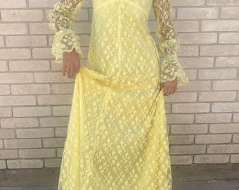 Vintage 60's Lace Yellow Maxi Dress with Bell Cuffs