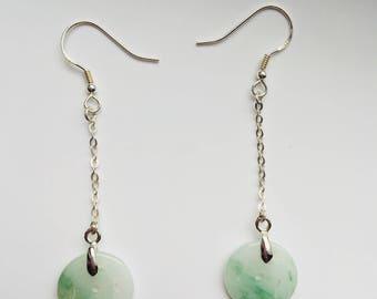 Jade Long Dangle Earrings.Green Jade Earrings.Chinese Jade Jewelry.Donut Jade Earrings.Long Silver Earrings.Chinese Coin Jewelry.Long Green