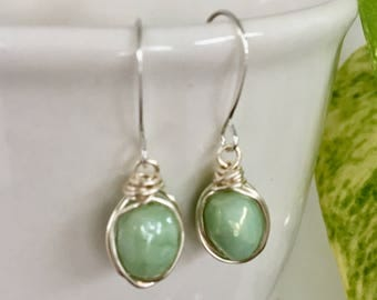 Green and silver wire wrapped earrings