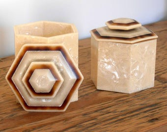 Art deco celluloid jewelry boxes