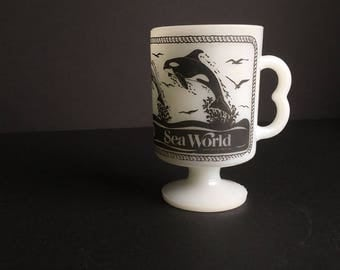 Milk glass sea world cup