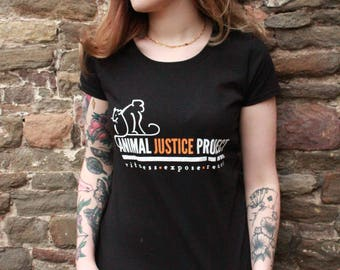 Animal Justice Project - Witness, Expose, React - Ladies Fitted Black T-Shirt