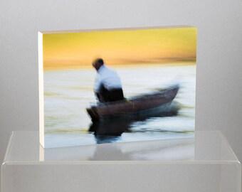 Fisherman on Lemro River, Myanmar, mounted on Wood Panel