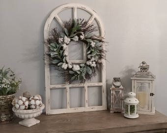 Farmhouse Wall Decor,Distress Window Pane,Grapevine Wreath,Wall Decor,Housewarming Gift,Wedding Decor,Rustic Wall Decor,Distress Wall Decor