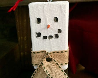 Wooden Snowman Ornament with Scarf